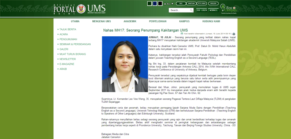 Nahas MH17  Seorang Penumpang Kakitangan UMS